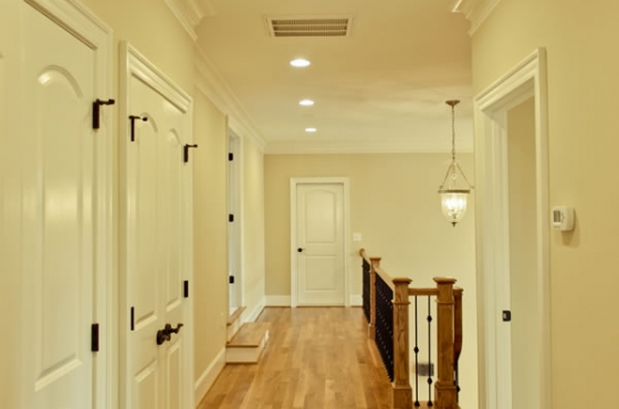 Hardwood floors and white trim work